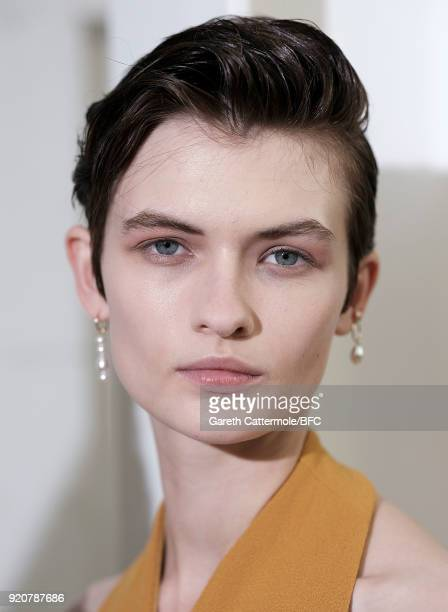 Model Lara Mullen backstage ahead of the Emilia Wickstead show during London Fashion Week February 2018 at Great Portland Street on February 19 2018...