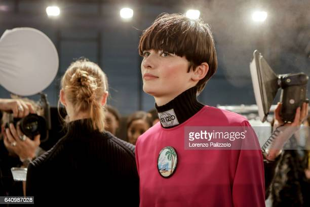 Model Lara Mullen poses Backstage prior the Kenzo Menswear Fall/Winter 20172018 show as part of Paris Fashion Week on January 22 2017 in Paris France