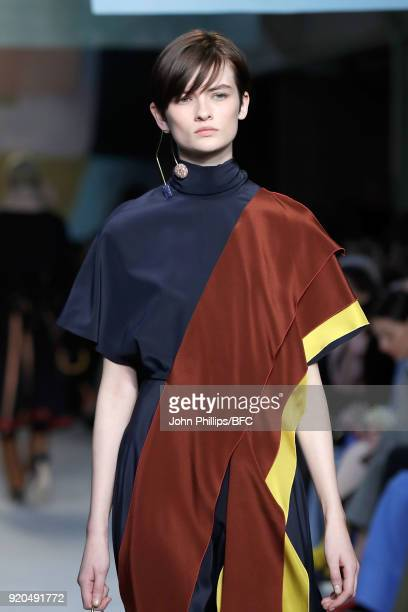 Model Lara Mullen walks the runway at the Roksanda show during London Fashion Week February 2018 at Eccleston Place on February 19 2018 in London...