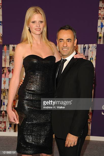 Model Lara Stone and designer Francisco Costa attend the 2010 CFDA Fashion Awards at Alice Tully Hall at Lincoln Center on June 7 2010 in New York...