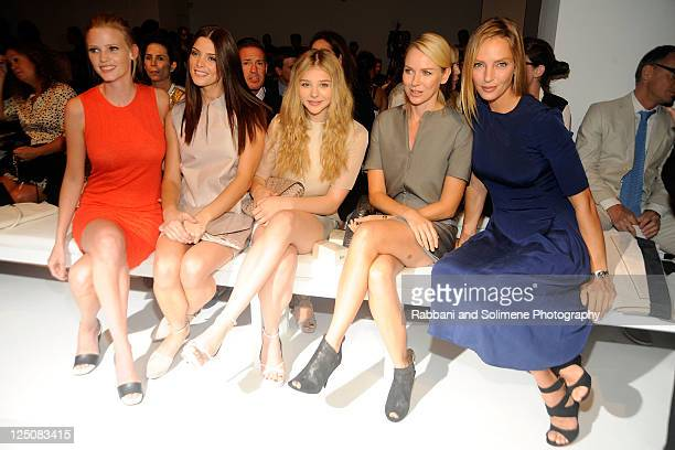 Model Lara Stone Ashley Greene actress Jenny Packham Naomi Watts actress Chloe Moretz and actress Uma Thurman attend the Calvin Klein Collection...