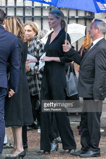 Model Lara Stone attends Peter Lindbergh's funeral at Eglise Saint-Sulpice on September 24, 2019 in Paris, France.