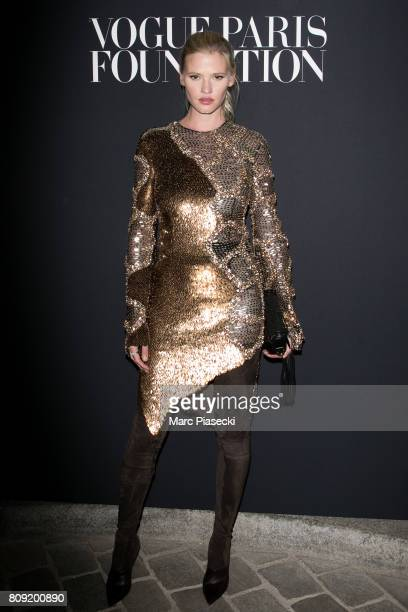 Model Lara Stone attends Vogue Foundation Dinner during Paris Fashion Week as part of Haute Couture Fall/Winter 20172018 at Musee Galliera on July 4...