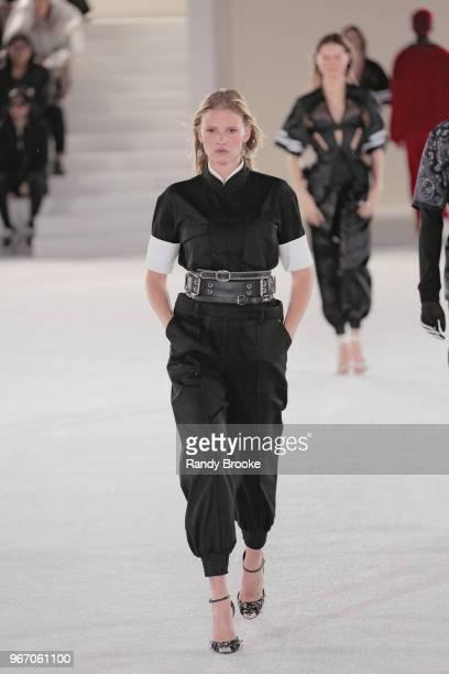 Model Lara Stone walks the runway during the Alexander Wang Resort Runway show June 2018 New York Fashion Week on June 3 2018 in New York City