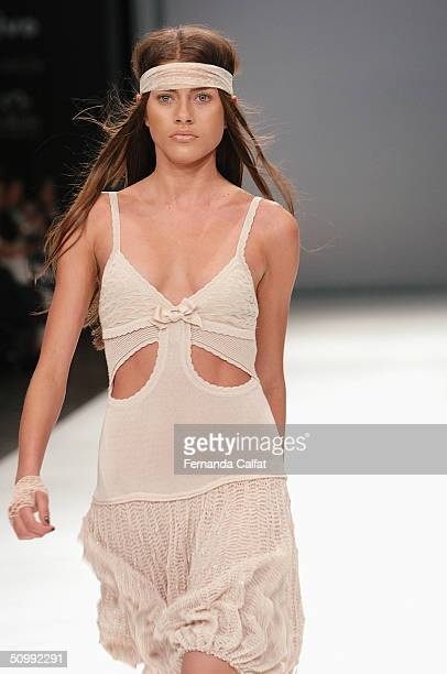 Model Larissa Castro walks the runway at the Patachou 2005 Spring/Summer collection during the Sao Paulo Fashion Week June 17 2004 in Sao Paulo Brazil