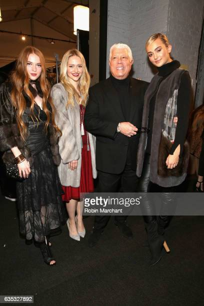 Model Larsen Thompson actress Johanna Braddy and designer Dennis Basso pose backstage for the Dennis Basso collection during New York Fashion Week...
