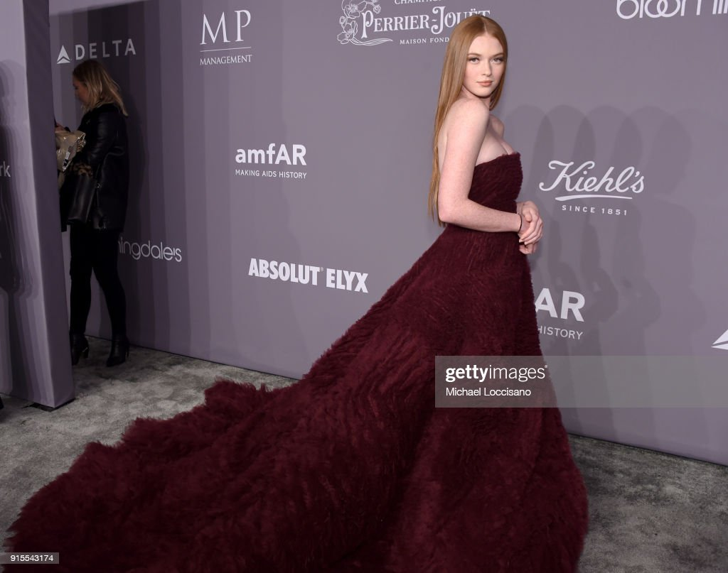 Model Larsen Thompson attends the 2018 amfAR Gala New York at Cipriani Wall Street on February 7, 2018 in New York City.