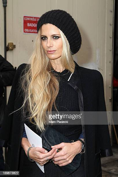 Model Laura Bailey arrives to attend the Chanel Spring/Summer 2013 HauteCouture show as part of Paris Fashion Week at Grand Palais on January 22 2013...