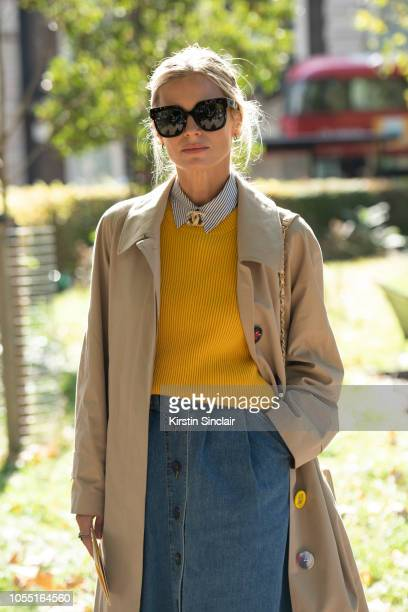 Model Laura Bailey during London Fashion Week September 2018 on September 15 2018 in London England