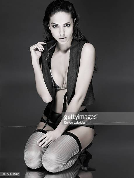 Model Laura Biarrales is photographed for Self Assignment on May 3 2008 in Milan Italy