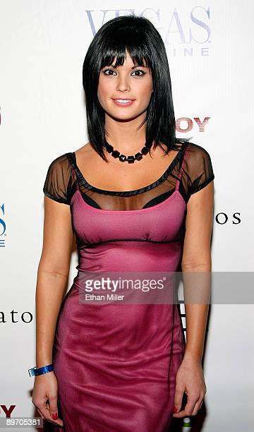 Model Laura Croft arrives at a party for the July/August issue of Vegas Magazine at the Playboy Club at the Palms Casino Resort August 7 2009 in Las...