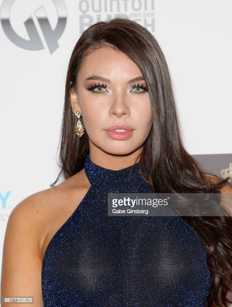 Model Laura Diosa attends the Worldwide Cover Model Inc photography and modeling red carpet event at The View at Palms Casino Resort on October 28...