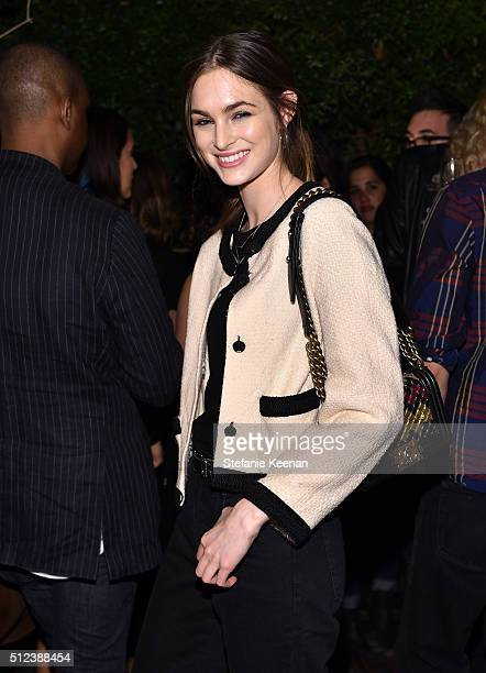 Model Laura Love attends the I Love Coco Backstage Beauty Lounge at Chateau Marmont's Bar Marmont on February 25 2016 in Hollywood California