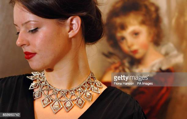 Model Laura Turnbull wears a 100 carat diamond Cartier necklace of square cut and pearshaped diamonds once owned by Anne Moen Bullitt a wealthy...