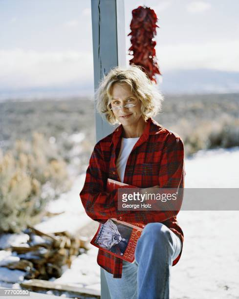 Model Lauren Hutton is photographed for InStyle on December 19 and 20 2003 at home in New Mexico