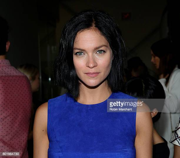 Model Leigh Lezark attends Dion Lee Front Row September 2016 during New York Fashion Week at Pier 59 Studios on September 10 2016 in New York City