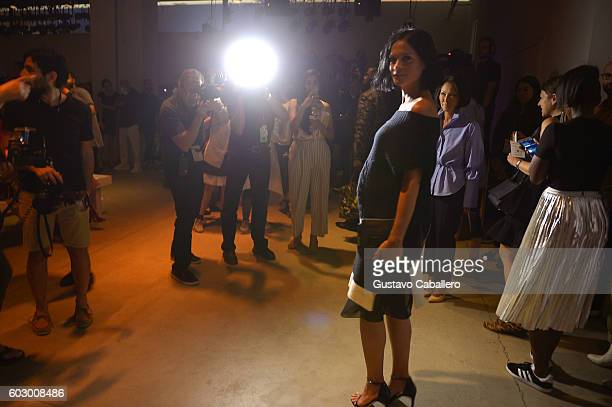 Model Leigh Lezark attends the Prabala Gurung fashion show during New York Fashion Week The Shows September 2016 on September 11 2016 in New York City