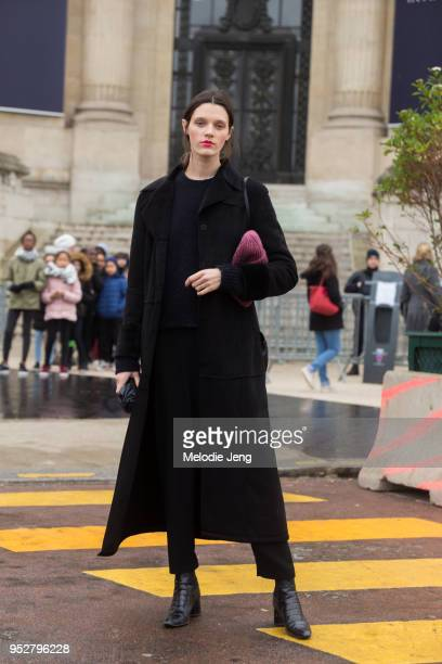 Model Leila Goldkuhl after the Chanel show on January 23 2018 in Paris France