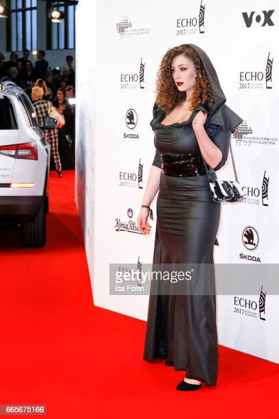 Model Leila Lowfire during the Echo award red carpet on April 6, 2017 in Berlin, Germany.