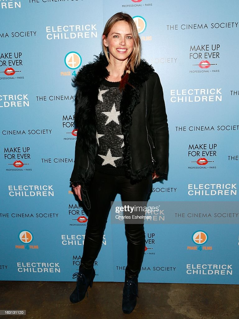 Model Leilani Bishop attends The Cinema Society & Make Up For Ever host a screening of 'Electrick Children' at IFC Center on March 4, 2013 in New York City.