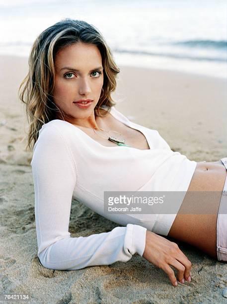 Model Leilani Bishop is photographed for Lucky Magazine in 2004 at the Keiki Beach Bungalows North Shore Oahu Royal Hawaiian Waikiki and Kahala...