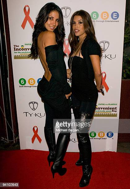 Model Leilani Dowding and host Rachel Sterling arrive at the We'll Run You Party Benefit for Aids Project Los Angeles 2009 in Los Angeles California