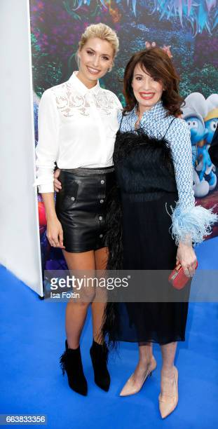 Model Lena Gercke and german actress Iris Berben during the 'Die Schluempfe Das verlorene Dorf' premiere at Sony Centre on April 2 2017 in Berlin...