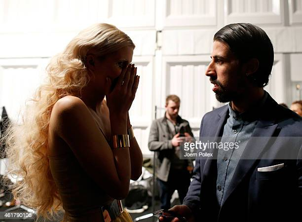 Model Lena Gercke and german soccer player Sami Khedira are seen backstage ahead of the It's Showtime Maybelline New York 100th Anniversary show...