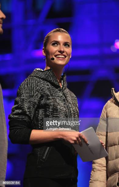 Model Lena Gercke attends the presentation of the outfit for German athletes competing in the upcoming Olympic Games in South Korea 2018 at Messe...
