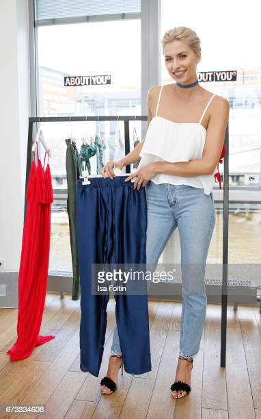 Model Lena Gercke presents her new collection 'Seaside Essentials' for ABOUT YOU on April 26 2017 in Hamburg Germany