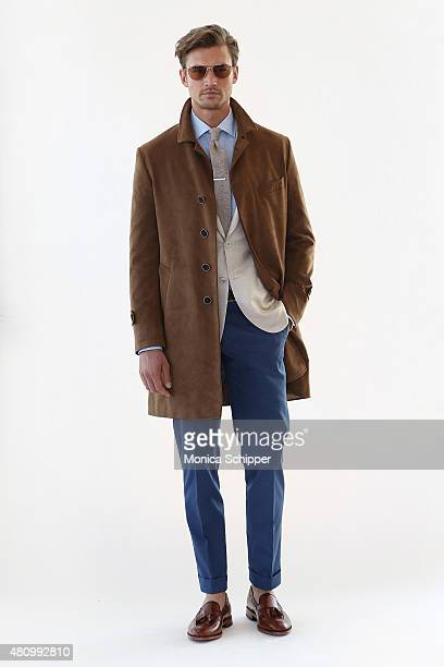 Model Leo Vlasic poses before the Hickey Freeman presentation during New York Fashion Week: Men's S/S 2016 at The Standard, East Village on July 16,...