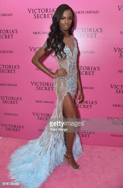Model Leomie Anderson attends the 2017 Victoria's Secret Fashion Show In Shanghai After Party at MercedesBenz Arena on November 20 2017 in Shanghai...