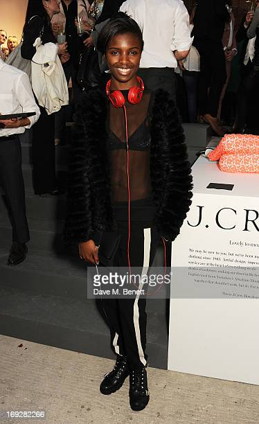 Model Leomie Anderson attends the JCrew concept store to launch their partnership with Central Saint Martins College Of Arts And Design at The...