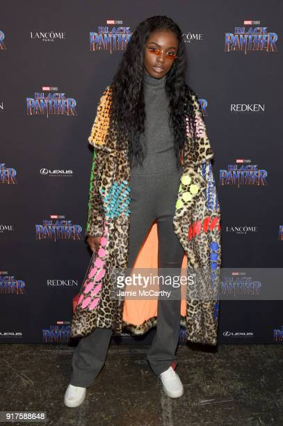 Model Leomie Anderson attends the Marvel Studios Black Panther Welcome to Wakanda New York Fashion Week Showcase at Industria Studios on February 12...