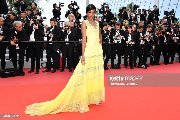 Model Leomie Anderson attends the screening of 'Yomeddine' during the 71st annual Cannes Film Festival at Palais des Festivals on May 9 2018 in...
