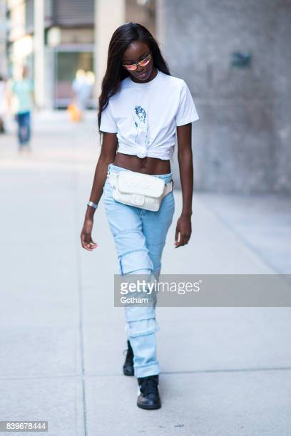 Model Leomie Anderson is seen going to fittings for the 2017 Victoria's Secret Fashion Show in Midtown on August 26 2017 in New York City