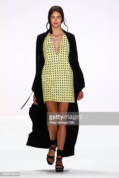 Model Leonie Scheunemann walks the runway at the Laurel show during the MercedesBenz Fashion Week Berlin Spring/Summer 2017 at Erika Hess Eisstadion...