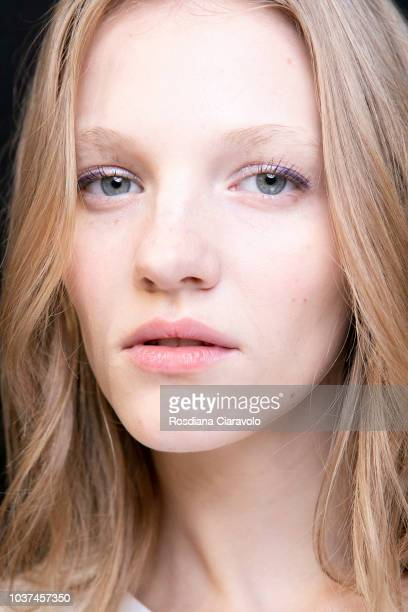 Model Lera Koss is seen backstage ahead of the Blumarine show during Milan Fashion Week Spring/Summer 2019 on September 21, 2018 in Milan, Italy.