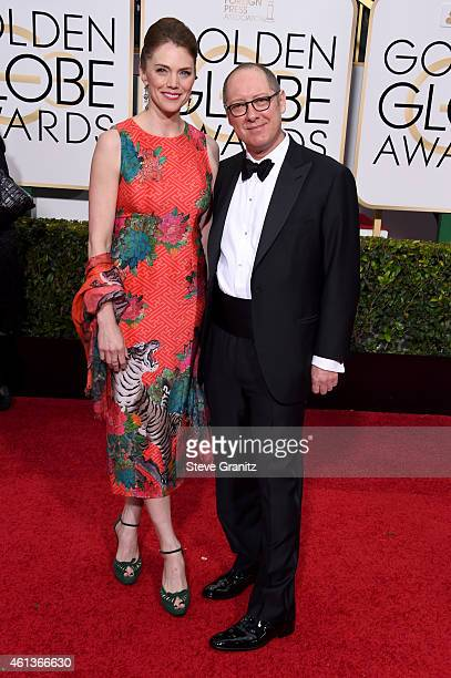Model Leslie Stefanson and actor James Spader attend the 72nd Annual Golden Globe Awards at The Beverly Hilton Hotel on January 11 2015 in Beverly...