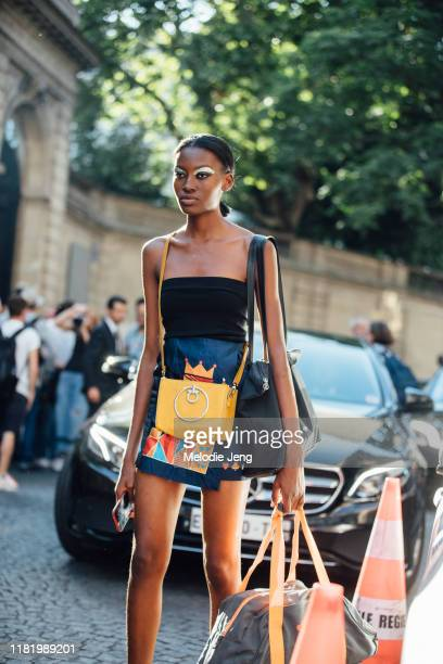 Model Leslye Houenou after the Valentino show during Couture Fashion Week Fall/Winter 2019 on July 03, 2019 in Paris, France.