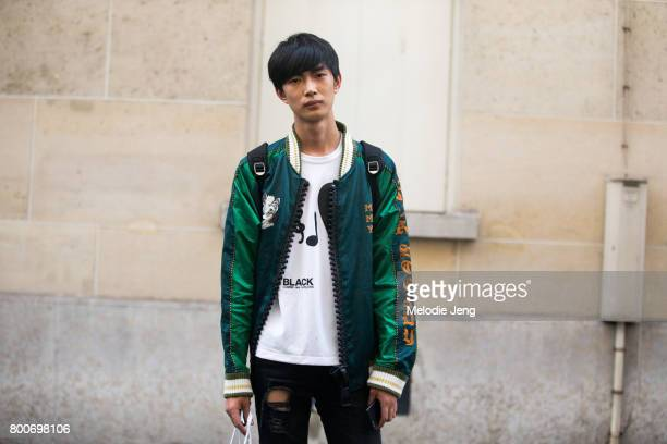 Model Li Yu Feng outside the Balmain show on June 24 2017 in Paris France