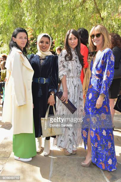 Model Liberty Ross CEO of Doha Film Institute Fatma AlRemaihi producer Lauren Mekhael and actor Felicity Huffman attend the DVF Oscar Luncheon...