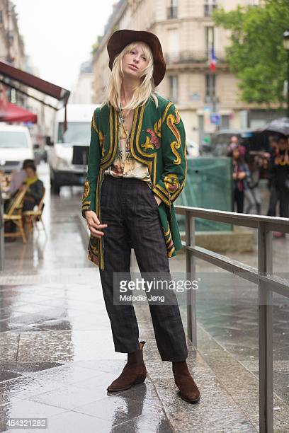 Model Lili Sumner poses after Viktor Rolf on Day 4 of Paris Haute Couture Fashion Week Autumn/Winter 2014 on July 9 2014 in Paris France