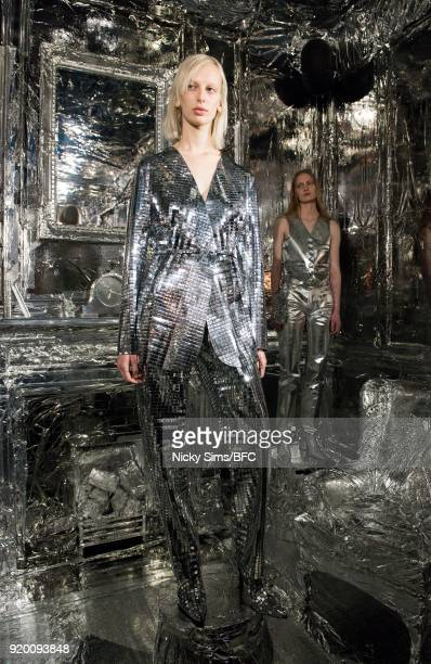 Model Lili Sumner showcases designs at the MM6 Maison Margiela during London Fashion Week February 2018 at The Running Horse on February 18 2018 in...