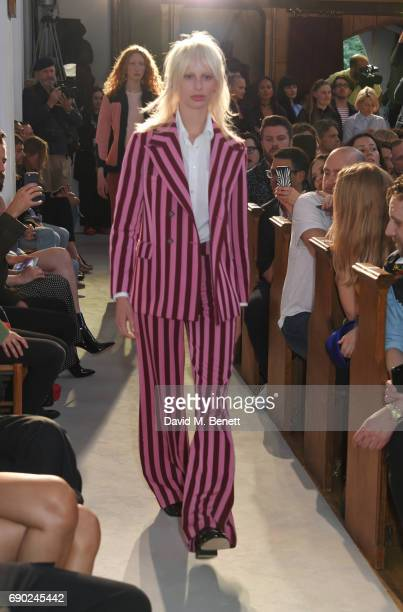 Model Lili Sumner walks the runway at the ALEXACHUNG London Launch Summer 17 Collection Reveal at the Danish Church of Saint Katharine on May 30 2017...