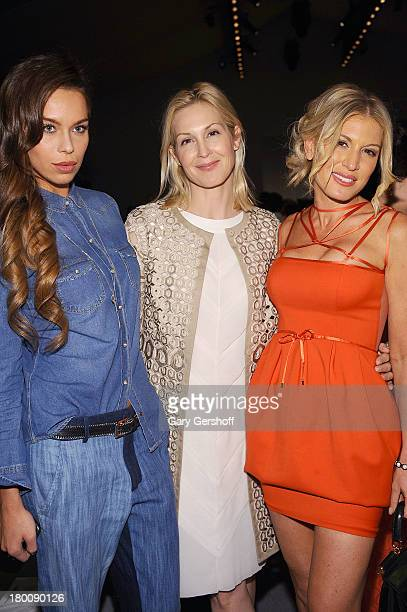 Model Liliana Matthaus actress Kelly Rutherford and actress/media personality Hofit Golan attend the Vivienne Tam show during Spring 2014...
