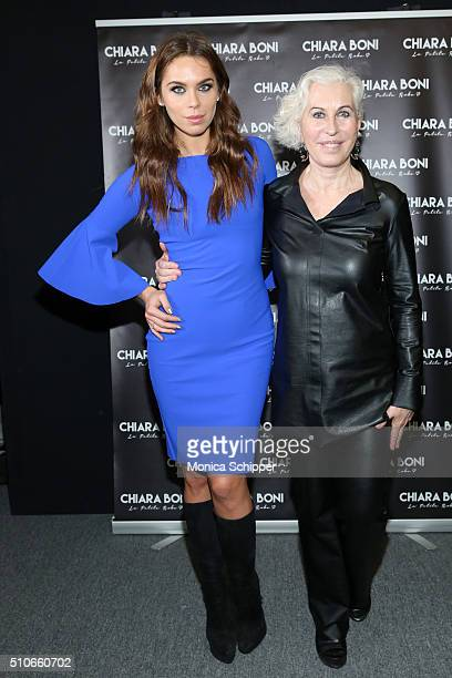 Model Liliana Nova and designer Chiara Boni pose backstage at the Chiara Boni La Petite Robe Fall 2016 fashion show during New York Fashion Week The...