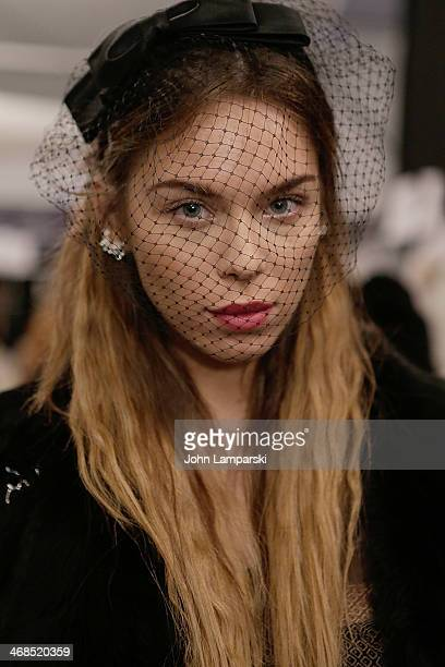 Model Liliana Nova poses backstage at the Dennis Basso show during MercedesBenz Fashion Week Fall 2014>> at The Theatre at Lincoln Center on February...