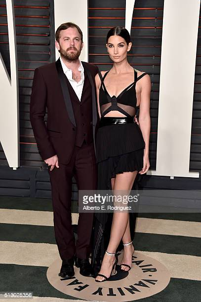 Model Lily Aldridge and recording artist Caleb Followill of music group Kings of Leon attend the 2016 Vanity Fair Oscar Party hosted By Graydon...