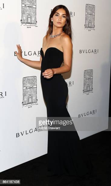 bfe956eb28d Model Lily Aldridge attends Bulgari 5th Avenue flagship store opening on  October 20 2017 in New